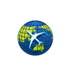 Airplane icon on world globe vector