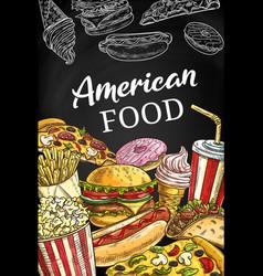 American fastfood poster sketch takeaway food vector