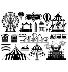 Amusement park silhouette carnival parks carousel vector