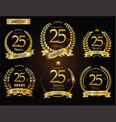 Anniversary golden laurel wreath 25 years vector