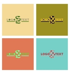 assembly flat icons nature snake logo vector image