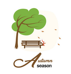 autumn season garden wood chair and tree with fall vector image