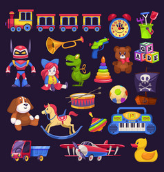baby toys kid game bear and car vector image