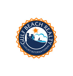 Beach realty logo design template vector