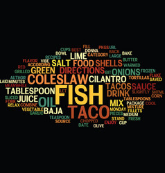 best recipes baja fish tacos text background word vector image