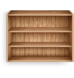 blank bookshelf mockup template realistic wooden vector image