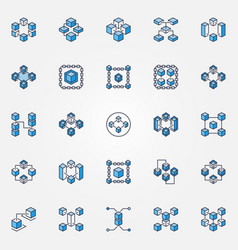blockchain blue icons set block chain vector image