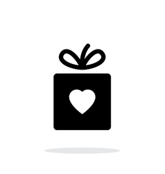Box with heart iicon on white background vector image