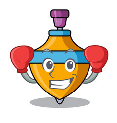 Boxing spinning top character cartoon vector