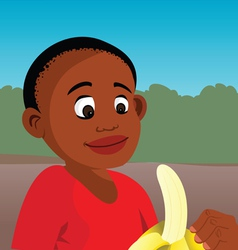 Boy peeling banana vector