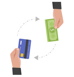 Businessman hand holds credit card and money vector