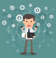 businessman happy multitasking and multi skill vector image