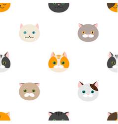 cat flat feline head icons seamless pattern vector image