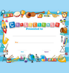 Certificate template with school items vector