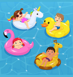 children floating on inflatable vector image