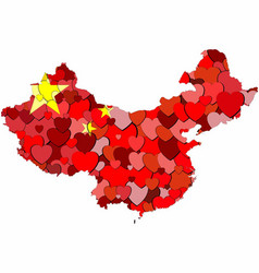 china map made of hearts background vector image