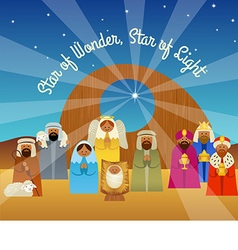 Christmas card of the nativity scene vector