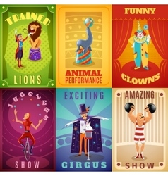 Circus 6 flat banners composition poster vector