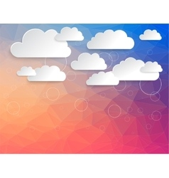 Cloud virtual storage with modern triangle pattern vector image
