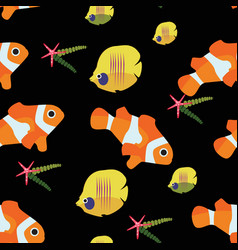 clown fish and starfish chaetodon seamless pattern vector image