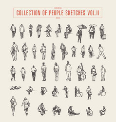 collection of people sketches hand drawn vector image