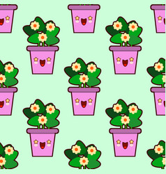 cute cartoon flowers pot nature seamless pattern vector image vector image