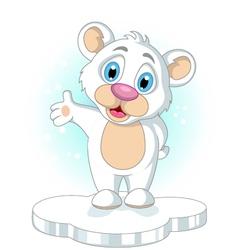 cute little Polar bear cartoon rising his hand vector image