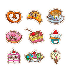 cute sticker coffee cake ice cream and bakery vector image