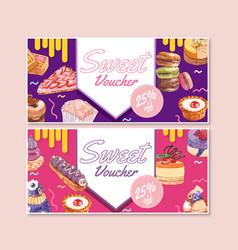 Dessert voucher design with macarons cupcake vector