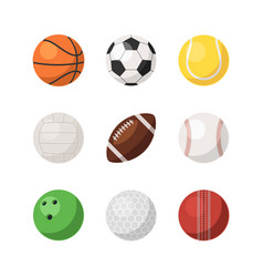 different sports ball set isolated on white vector image