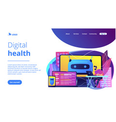 Digital wellbeing concept landing page vector