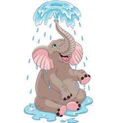 Elephant bathing vector