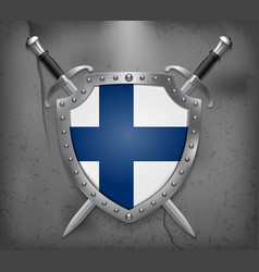 flag of finland the shield with national flag vector image