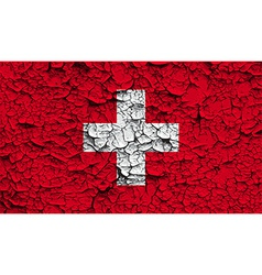 Flag of Switzerland with old texture vector image