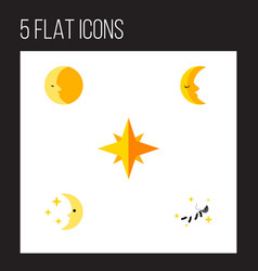 Flat icon night set of asterisk night moon and vector