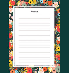 Flowers poster template to do list vector