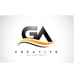 Ga g a swoosh letter logo design with modern vector