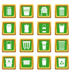 Garbage container icons set green vector