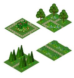 garden isometric asset for design landscape in vector image