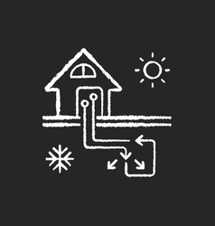 Geothermal heating and cooling system chalk white vector