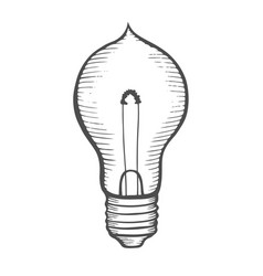 Glowing light incandescent bulb vector