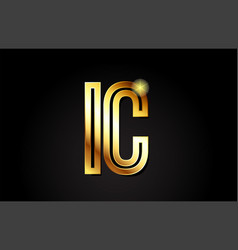 Gold alphabet letter ic i c logo combination icon vector