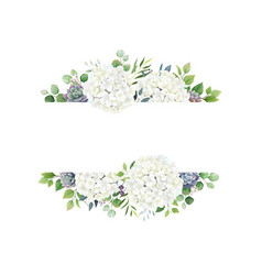 Greenery white hydrangea and succulent frame vector