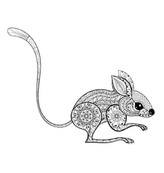 Hand drawn zentangled mouse totem for antistress vector