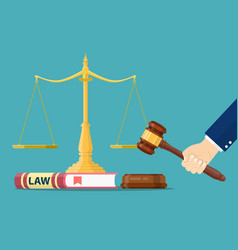 hand with judge wooden gavel vector image