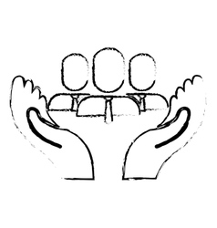 hands and people icon vector image