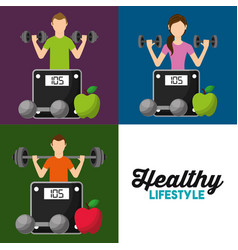 healthy lifestyle set people weight scale fruit vector image
