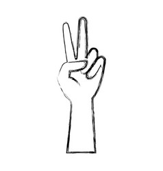 human hand peace and love gesturing icon vector image
