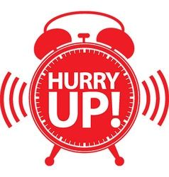 Hurry up alarm clock red icon vector image
