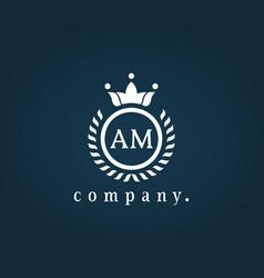 Letter am a m luxury royal monogram logo design vector